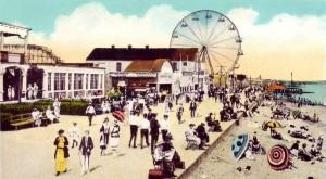 Midland Beach and Ferris Wheel. Detail of Postcard.