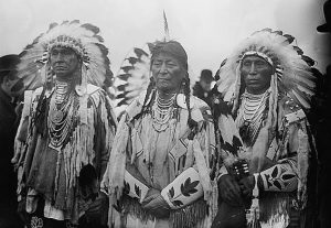 Crow chiefs at the groundbreaking National American Indian Memorial, Ft Wadsworth (l-r) White Man Runs Him (ca